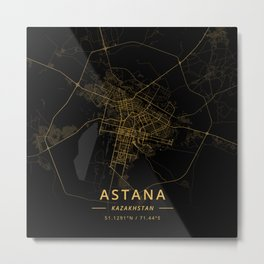 Astana, Kazakhstan - Gold Metal Print