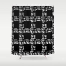 black and grey checks quadrat pattern Shower Curtain