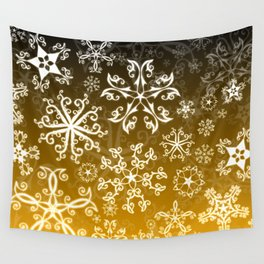 Symbols in Snowflakes on Gold Wall Tapestry