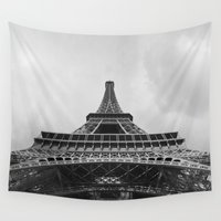 eiffel tower Wall Tapestries featuring Eiffel Tower by Evan Morris Cohen