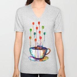 Coffee Splash Unisex V-Neck