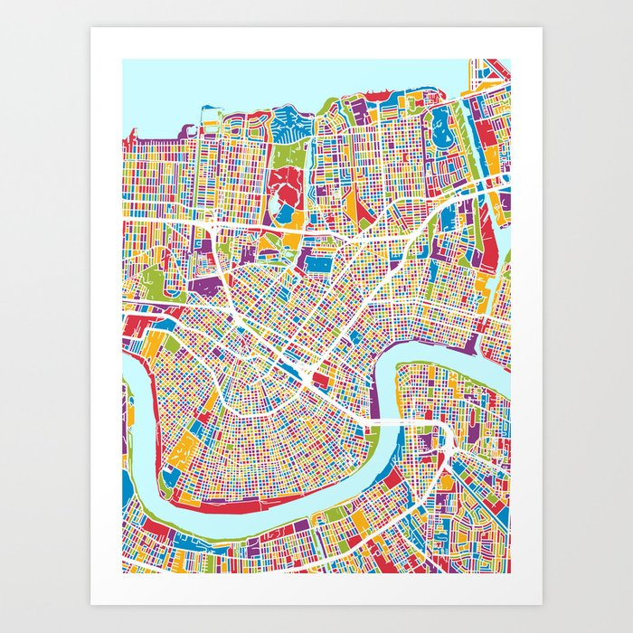 picture relating to Printable Map of New Orleans identify Fresh Orleans Road Map Artwork Print