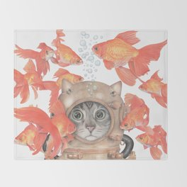 Scuba Cat Among the Fishes Throw Blanket