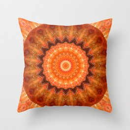Mandala orange brown Throw Pillow