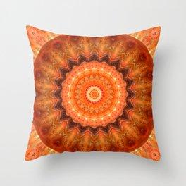 Mandala orange brown Throw Pillow