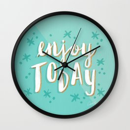 Enjoy Today – Mint & Gold Palette Wall Clock