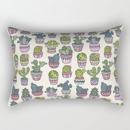 Trendy modern bohemian purple green floral cactus pattern Rectangular Pillow