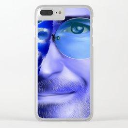 Joblerium - blue portrait Clear iPhone Case
