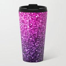 Purple Pink Ombre glitter sparkles Metal Travel Mug