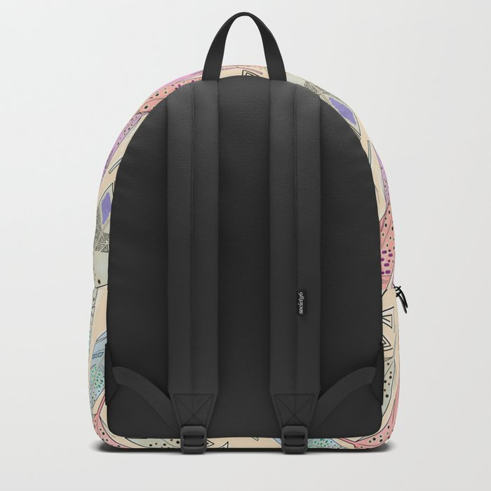The feathers are multicolored on a beige background . Backpack