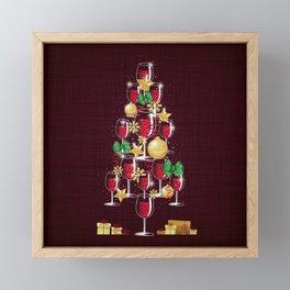 Happy Red Wine Tree Framed Mini Art Print