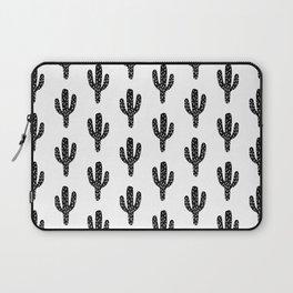 Linocut Cactus black and white minimal modern printmaking trendy hipster canvas dorm college art Laptop Sleeve