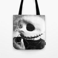 jack skellington Tote Bags featuring smoking jack skellington by Joedunnz