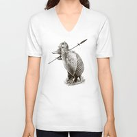 eric fan V-neck T-shirts featuring Armadillo by Eric Fan & Viviana González by Eric Fan
