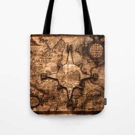 Antique World Map & Compass Rose Tote Bag