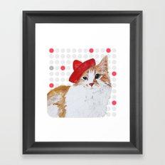 red hat cat  Framed Art Print