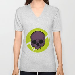 skull purple Unisex V-Neck