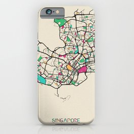 Colorful City Maps: Singapore iPhone Case