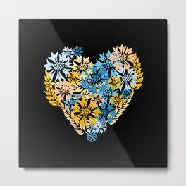 Cornflower and Wheat Heart Metal Print