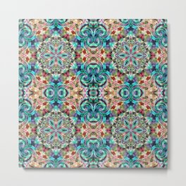 Sophisticated blue and yellow pattern . Metal Print