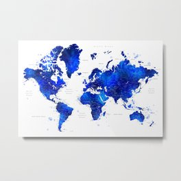 "Navy blue and cobalt blue watercolor world map with cities labelled, ""Carlynn"" Metal Print"