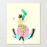 mermaid Canvas Prints featuring mermaid by Alba Blázquez