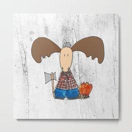 Lumberjack Moose Metal Print