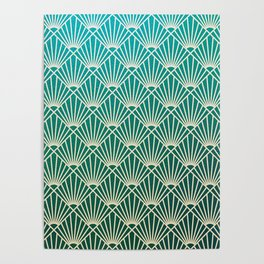 Teal golden Art Deco pattern Poster