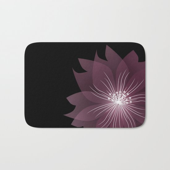 Burgundy flowers on black background . Bath Mat