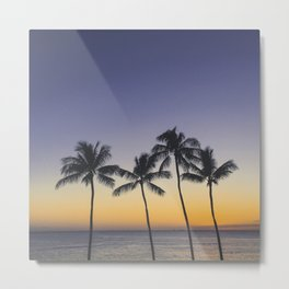 Palm Trees w/ Ombre Tropical Sunset - Hawaii Metal Print