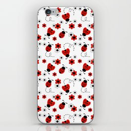Red Ladybug Floral Pattern iPhone Skin