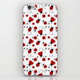 Red Ladybug Floral Pattern iPhone Skin