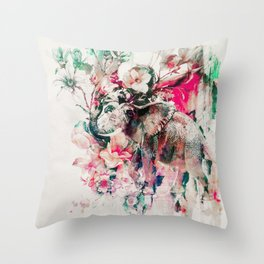 Watercolor Elephant and Flowers Throw Pillow