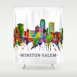 Winston-Salem North Carolina Skyline Shower Curtain