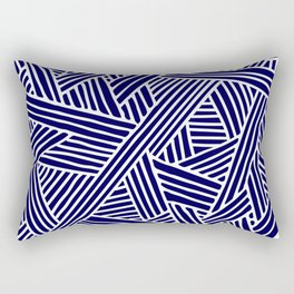 Abstract navy blue & white Lines and Triangles Pattern- Mix and Match with Simplicity of Life Rectangular Pillow