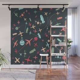 Black Airplane and Aviation Pattern Wall Mural