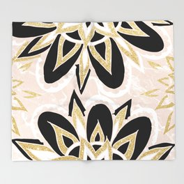 Modern black gold pink abstract floral pattern Throw Blanket