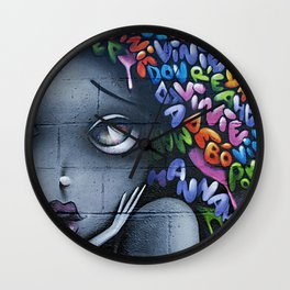 girl letters grafitti Wall Clock