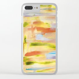 Desert dance: minimal, acrylic abstract painting in orange, amber and gold / Variation Seven Clear iPhone Case