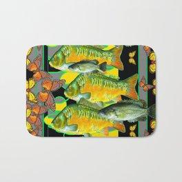 YELLOW & ORANGE MONARCH BUTTERFLIES FISH VIGNETTE Bath Mat