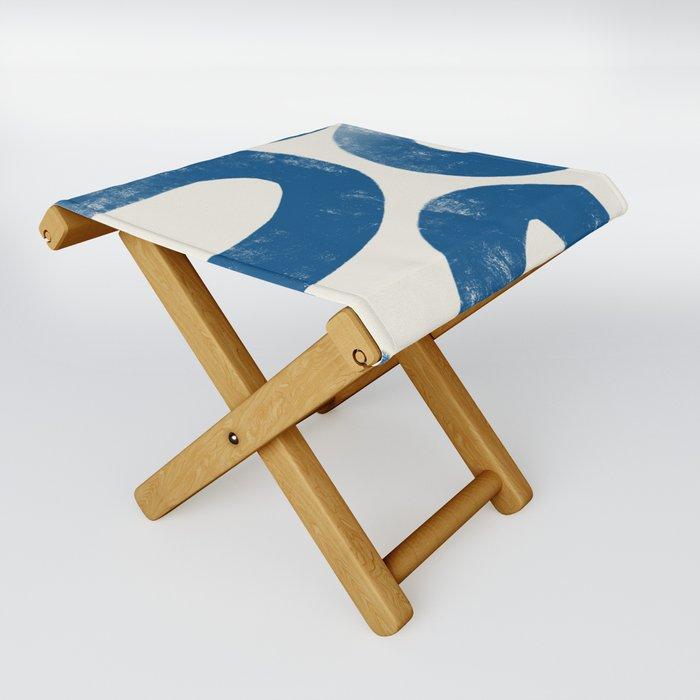 Blue Loops Abstract Art Folding Stool