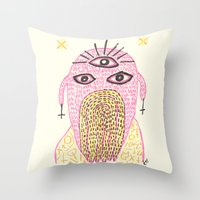 third eye Throw Pillows featuring Third Eye by Nü Köza