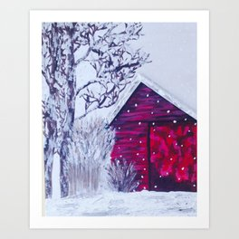 Christmas Barn Art Print