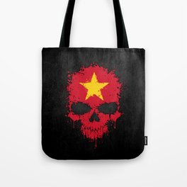 Flag of Vietnam on a Chaotic Splatter Skull Tote Bag