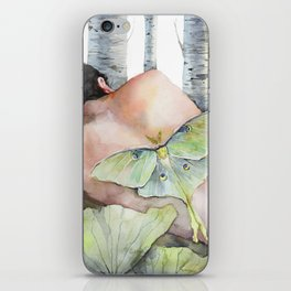 Sleeping in the Forest, Luna Moth Girl with Dark Hair iPhone Skin