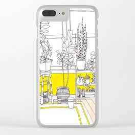 Yellow Bungalow Clear iPhone Case