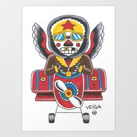 airplane Art Prints featuring Airplane by @VEIGATATTOOER
