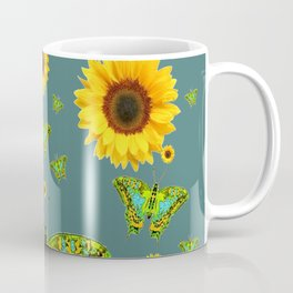 SUNFLOWERS & GREEN MOTHS ABSTRACT ART Coffee Mug