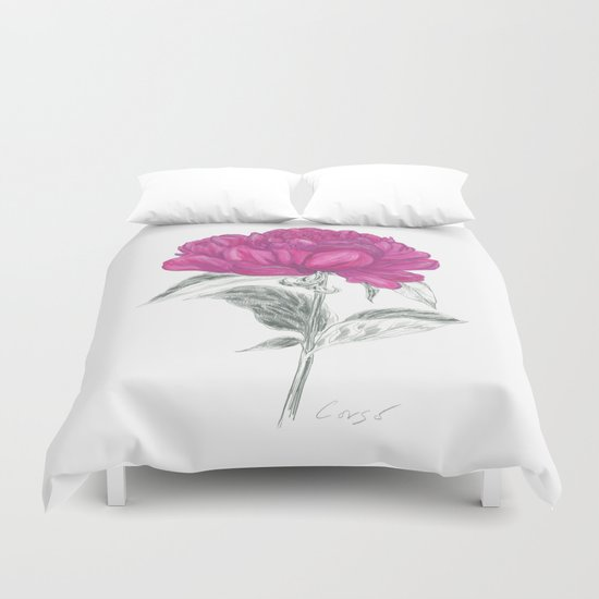 Peony 01 Botanical Flower *Pink, Magenta Duvet Cover