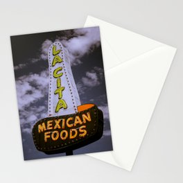 Vintage Neon Sign Nostalgia Route 66 La City Mexican Foods Tucumcari New Mexico Stationery Cards
